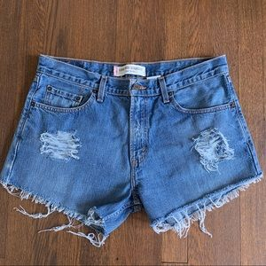 Vintage Levi's 529 High Rise Distressed Shorts 34